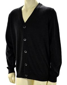 Men Apt. 9 Dark Charcoal 5 Button Full Cardigan Sweater V Neck Ribbed Sz L #Apt9 #5ButtonVNeckCardiganSweater
