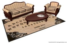 In 2014, Dave Delisle of Dave's Geeky Ideas put forth a brilliant concept for a planchette-style coffee table and a matching rug with a Ouija Board pattern. The set is not commercially available, however, custom furniture maker Tom Spina Designs is Dave's builder of choice.