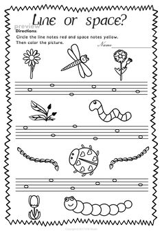 This set of 20 spring themed worksheets is designed to help your students practice identifying whether a pitch is on a line or in a space and practice high/low pitches. All activities require no preparation. Music Lessons For Kids, Music For Kids, Piano Lessons, Music Activities, Music Games, Beginner Piano Music, Music Education, Health Education, Physical Education