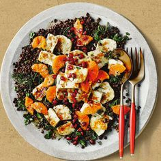 Warm lentil, halloumi and clementine salad, a delicious recipe from the new Cook with M&S app.