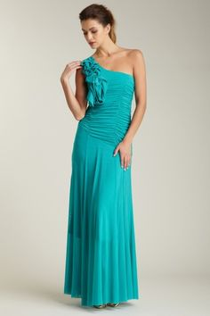 Romeo & Juliet Couture One Shoulder Shirred Gown