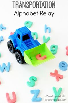 Transportation alphabet relay activity to get kids moving and learning to identify letters at the same time! Perfect for preschool, pre-k, or kindergarten. Transportation Preschool Activities, Transportation Unit, Gross Motor Activities, Preschool Literacy, Alphabet Activities, Preschool Themes, Literacy Activities, Preschool Crafts, Toddler Activities