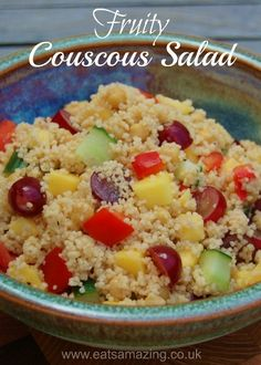 Easy Couscous salad recipe - healthy kids food - great lunch box food idea from Eats Amazing UK