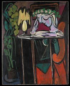 Pablo Picasso Reading at a Table, 1934 / Metropolitan Museum of Art, New York, NY. Image: © Metropolitan Museum of Art; © Estate of Pablo Picasso Henri Rousseau, Henri Matisse, Art Picasso, Picasso Paintings, Georges Braque, Paul Gauguin, Cubist Movement, Malaga, Famous Artists