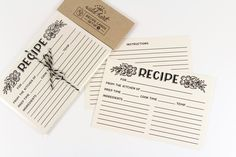 "Wild Hart Paper Co ""Recipe Cards"" 