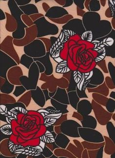 c8a65190029 Red Roses with Black Hearts and Brown on Double Brushed Poly Lycra Jersey