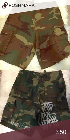 Flag Nor Fail cargo shorts Super limited edition never used never worn. Size men's small. Looks super cute on women with a cropped tank. Flag Nor Fail Shorts Cargo