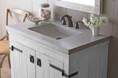 Made from a blend of cement and jute fiber, this Palomar Vanity Top with Integral Sink from Native Trails is 40 percent lighter than standard concrete and just as durable. Available in two finishes, Ash and Slate, from Walmart.