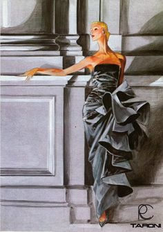 Roberto Capucci evening dress drawn by Stefano Canulli, 1985