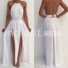 White A-Line Halter Sleeveless Natural Backless Floor-Length Chiffon Prom Dresses 2017