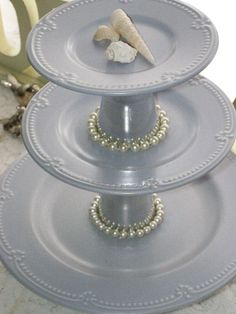 Upcycled Blue/Grey Plates...for Cupcake Treat Display at Wedding. Made & Sold 3 of these! People love the Pearls!