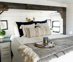 Rv Living, Home And Living, Cabana, Travel Trailer Decor, Camper Renovation, Rv Interior Remodel, Comfy Bedroom, Camper Makeover, Remodeled Campers