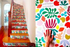 Make a dramatic entrance with wallpaper covered stairs