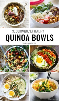 The 35 Best Quinoa Bowls - Simply Quinoa Bored with the same old quinoa recipe? Then you've got to try one of these OUTRAGEOUSLY delicious quinoa bowls! Packed with superfoods, easy to make and healthy too - there's a recipe for every type on this list. Stop Eating, Whole Food Recipes, Paleo Recipes, Recipes Dinner, Quinoa Recipes Easy, Bariatric Recipes, Sausage Recipes, Mexican Recipes, Family Recipes