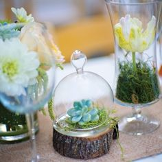 flowers under glass