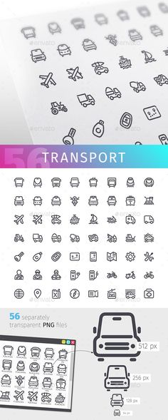 Transport Line Icons Set — Transparent PNG #cab #gps • Available here → https://graphicriver.net/item/transport-line-icons-set/17790355?ref=pxcr