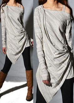 Grey Asymmetric Hem Long Sleeve Blouse