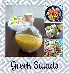 My Big Fat Greek Recipe Collection - Greek Salads Greek Salad Recipes, Veggie Recipes, New Recipes, Favorite Recipes, Healthy Recipes, Recipies, Greek Turkey Burgers, Greek Cooking, Greek Dishes