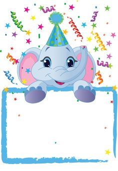 Baby Elephant Birthday by Anna Velichkovsky, via Dreamstime Elephant Birthday, Baby Elephant, Elephant Party, Happy Birthday, Birthday Wishes, Birthday Invitation Templates, Birthday Party Invitations, Party Frame, Birthday Clipart
