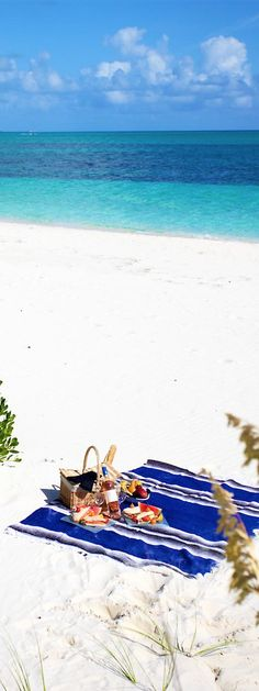 picnic on the beach, don't mind if I do!  love the sea blues in the ocean, coastal clouds and nautical stripe rug xo  Turks&Caicos