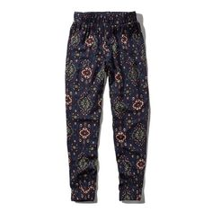Abercrombie & Fitch Pattern Drapey Joggers ($19) ❤ liked on Polyvore featuring activewear, activewear pants, pants, navy pattern and abercrombie & fitch
