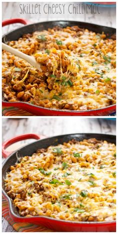 TO TRY Skillet Cheesy Chili Mac.Quick and easy one pot meal that combines two comfort food favorites! Pasta Recipes, Dinner Recipes, Cooking Recipes, Dinner Ideas, Popcorn Recipes, Supper Ideas, Noodle Recipes, Steak Recipes, Chili Recipes