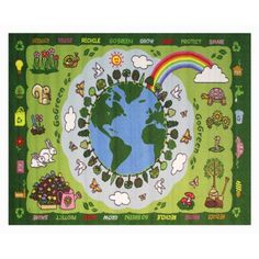 Fun Rugs Go Green Kids' Rug, Green, 4'3 inch x 6'6 inch, Multicolor