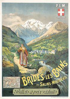1890s French Rail Travel Poster TANCONVILLE  Estimated Price: $280 - $500  Description: Tanconville, H. (Henri Ganier) 1845 - 1936. PLM - Brides-les-Bains. Lithograph ca. 1895 . Size: 41.7 x 29.5 in. (106 x 75 cm) . Printer: Lemercier, Paris .