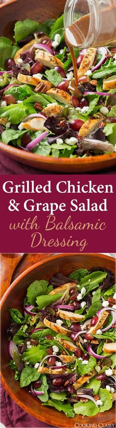 Grilled Chicken and Grape Spring Salad with Goat Cheese and Honey-Balsamic Dressing - this salad is AMAZING to say the least! Perfect blend of flavors, I still wanted more after eating two plates of i(Grilled Chicken Dishes) Spring Salad, Summer Salads, Salad Bar, Soup And Salad, Salad With Balsamic Dressing, Paleo Dressing, Grape Salad, Beet Salad, Clean Eating