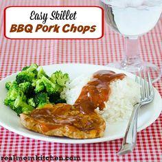 Easy Skillet BBQ Pork Chops | realmomkitchen.com