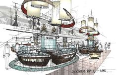 Image result for interior design lobby sketches