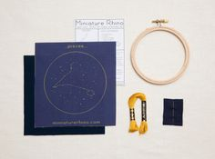 Pisces Zodiac Embroidery Kit - diy constellation embroidery kit. $20.00, via Etsy.