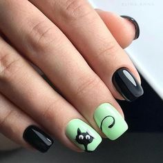Green and black nail art that looks cute Nail art vert et noir qui a l'air mignon Black Nail Art, Black Nails, Cute Nail Art, Easy Nail Art, Nail Art Designs, Simple Wedding Nails, Nail Art Halloween, Cat Nails, Green Nails
