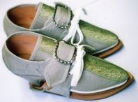 18th century brocade front fabric shoes with covered timber heels & matching fabric covered pattens. Silver buckles made by G. Gedney Godwin.