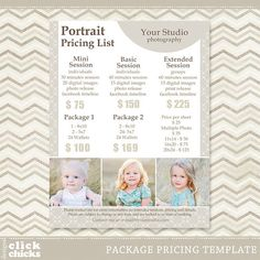Photography Package Pricing List Template by ClickChicksDesigns Photography Mini Sessions, Photography Tips, Photography Studios, Photography Backdrops, Children Photography, Portrait Photography, Photography Degree, Alphabet Photography, Beginner Photography