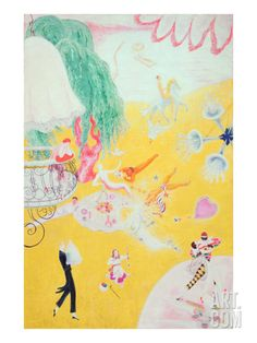 Love Flight of a Pink Candy Heart, 1930 (Oil on Canvas) Giclee Print by Florine Stettheimer at Art.com
