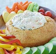 Bread bowls for dips:  Southwest Dip, Dill Dip, and homemade ranch dip  Recipes for Southwest Dill an Dill Dip: 1 cup sour cream, 1 cup mayo, 1 tbsp. Pampered Chef seasoning and mix well  Ranch:  1 cup mayo, 1/2 cup buttermilk and 1 package of Hidden Valley Ranch dressing mix well