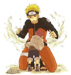 Naruto and Lil' Gaara. Little Gaara is the cutest thing to walk the anime Earth!