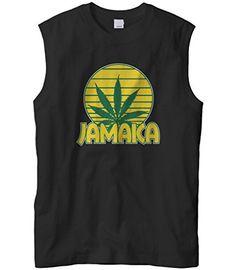 Cybertela Men's Jamaica Marijuana leaf Weed Cannabis 420 Sleeveless T-Shirt (Black, X-Large)