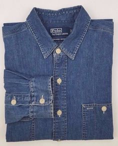 POLO Ralph LAUREN Large BLUE Shirt DUNGAREE Chambray WORKSHIRT Denim MENS Size** #PoloRalphLauren #ButtonFront