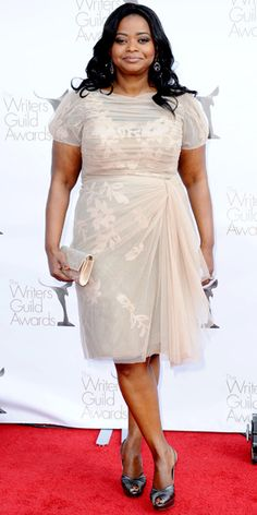 Octavia Spencer in Tadashi Shoji Spring 2012 dress, Stuart Weitzman heels, and Judith Leiber clutch at the 2012 Writers Guild Awards, February 2012