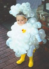 Bubble bath Halloween costume - white balloons (safety pin on), rubber duck and rubber boots. #RubberDucky