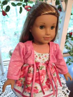 """Fairy Print Pink & Blue Summer Doll Dress and Sweater or Shrug to fit your 18"""" American Girl Doll by Emmakate0 on Etsy"""