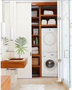 Ótima ideia para quem tem uma lavanderia com pouco espaço.
