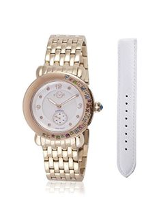 GV2 by Gevril Women's 9892 Marsala Gemstone Analog Display Swiss Quartz Gold Watch *** Click image to review more details.