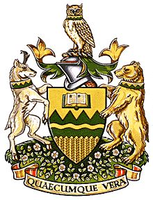 University of Alberta, Alberta, Canada. Officially granted in 1994 Motto: 'Quaecumque vera' means 'Whatsoever things are true' (Phil Whatsoever Things Are True, Canadian Culture, University Of Alberta, Family Crest, Coat Of Arms, Family History, Bowser, Badge, Symbols