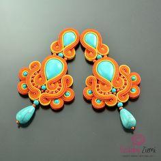 Clip on Long Turquoise Orange Soutache Earrings, Long Clip on Earrings, Turquoise Earrings, Post Clip-on Orange Earrings, Soutache Earrings  Turquise