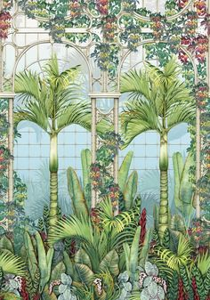 Palm House Panel by Osborne & Little - Leaf Green - Mural : Wallpaper Direct Scenic Wallpaper, Home Wallpaper, Osborne And Little Wallpaper, Ombre Background, Mansfield Park, Father Photo, Watercolor Wallpaper, Pip Studio, Fabric Houses