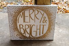 Merry & Bright // gold ornament painting // Christmas ornament // 8x10 inch canvas