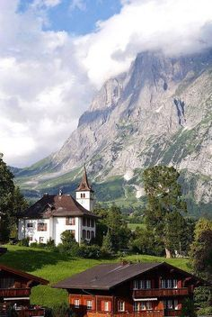 Lovely scenery in Village of Grindelwald, Bern Canton, Switzerland